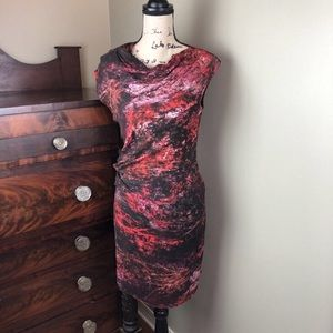 Helmet Lang Red Black Abstract Sheath Dress 0